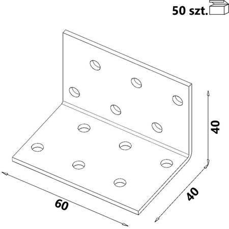 Kątownik KM2 40x40x60 x 2,0 mm (50 szt.)