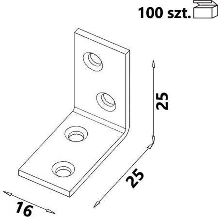 Kątownik KW0 25x25x16 x 1,5 mm (100 szt.)
