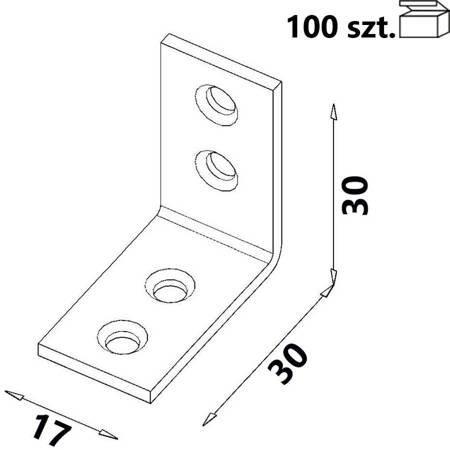 Kątownik KW1 30x30x17 x 2,0 mm (100 szt.)