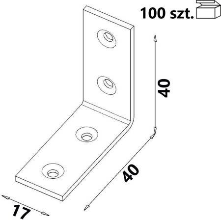Kątownik KW2 40x40x17 x 2,0 mm (100 szt.)