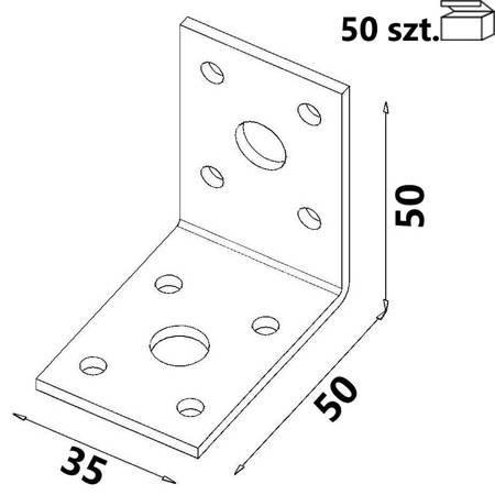 Kątownik łącznikowy KŁ1 50x50x35 x 2,5mm (50 szt.)