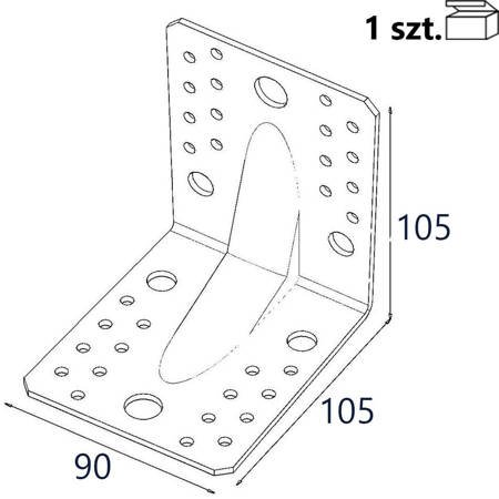 Kątownik z przetło. KP2/2 105x105x90 x 2,0mm (1 szt.)