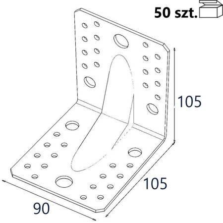 Kątownik z przetło. KP2E 105x105x90 x 1,5mm (50 szt.)