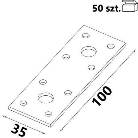 Łącznik płaski ŁP1 100x35x 2,5 mm  (50 szt.)