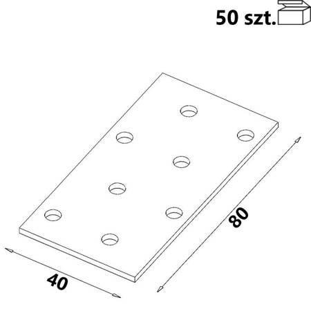 Płytka perforowana PP01 40x80x 2,0 mm (50 szt.)
