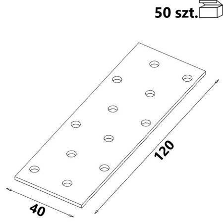 Płytka perforowana PP03 40x120x 2,0 mm (50 szt.)