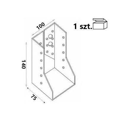Wieszak belki WZ103 100x140x75x 2,0 mm (1 szt.)